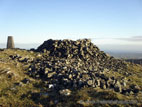 Slieve Croob summit with trig point and cairn